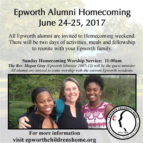 alumni homecoming weekend epworth children s home