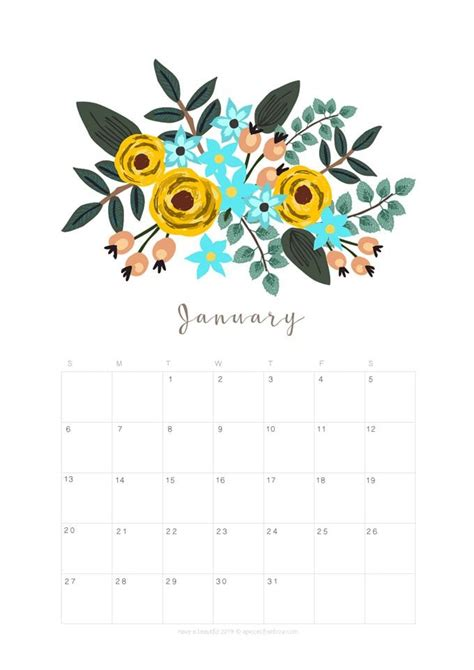 printable january  calendar monthly planner  designs flowers modern january