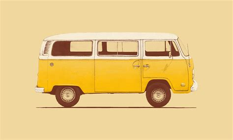new volkswagen bus yellow florent bodart illustration print