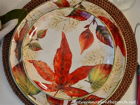 better homes and gardens fall dinnerware fall table setting with beautiful leaf covered dishware