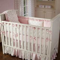 Baby Bedding For Pink And Taupe Damask Crib Bedding Crib Bedding