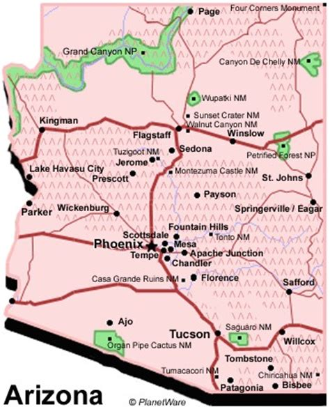 united states map arizona arizona map