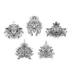 Lotus Motif Turkish Indian And Paisley Floral Motifs Vector