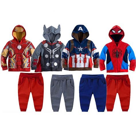 Boy And Fashion Avenger 1 clothing set for boys children s sport set iron boy s casual sleeve