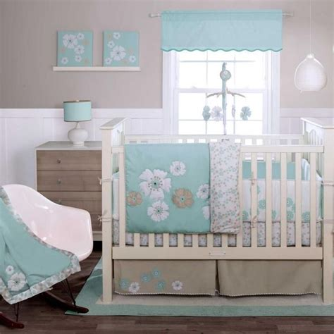 turquoise baby bedding turquoise white floral baby girls flower nursery 4 pc