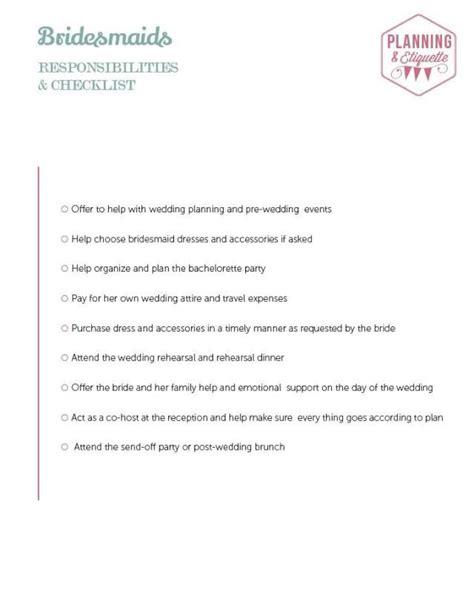 printable wedding party checklist printable wedding party duties checklist bridesmaid