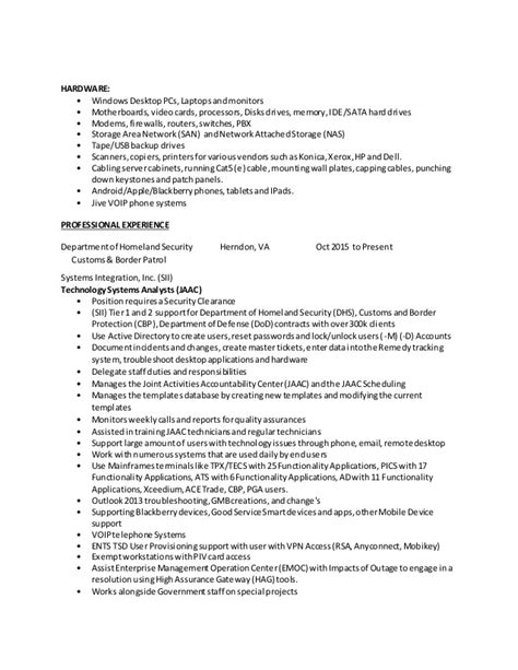 Customs And Border Protection Officer Sle Resume by 2016 Resume Dhs Cbp