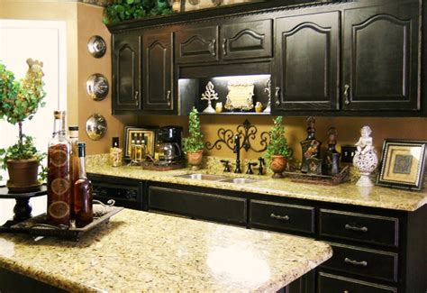 decorating ideas for kitchen counters the black cabinets and the granite countertops