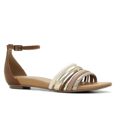aldo brown sandals aldo zywet ankle flat sandals in brown lyst