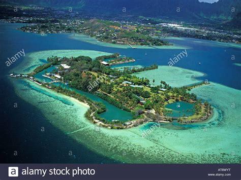 coconut island oahu windward coastline and coconut island aerial stock