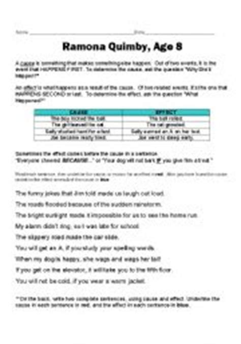 Ramona Forever Worksheets by Worksheet Ramona Quimby Age 8 Worksheets Caytailoc Free
