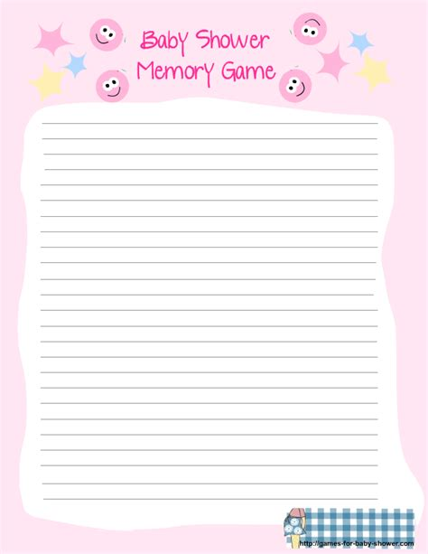 baby shower memory template free printable baby shower memory