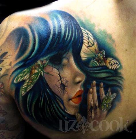 liz cook tattoo doll and cicadas by liz cook tattoos