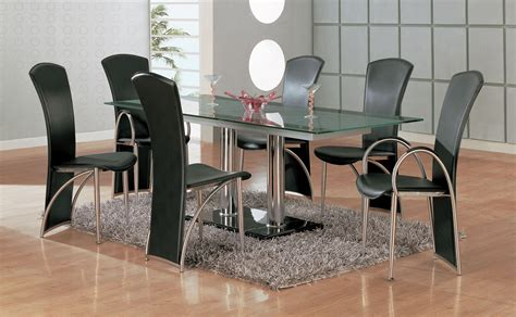 Glass Dining Room Tables And Chairs Rectangle Glass Dining Table With Silver Steel Legs