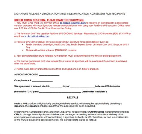 ups signature release forms