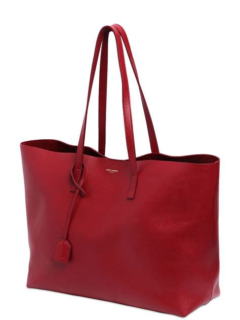 saint laurent soft leather tote bag in red lyst