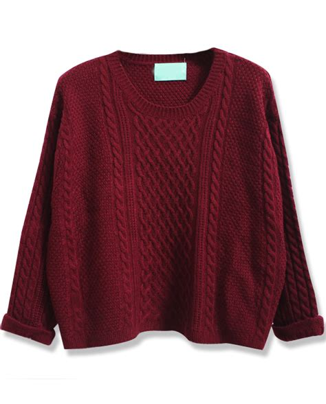 Crd Sweater Newback Maroon wine batwing sleeve cable knit sweater shein sheinside