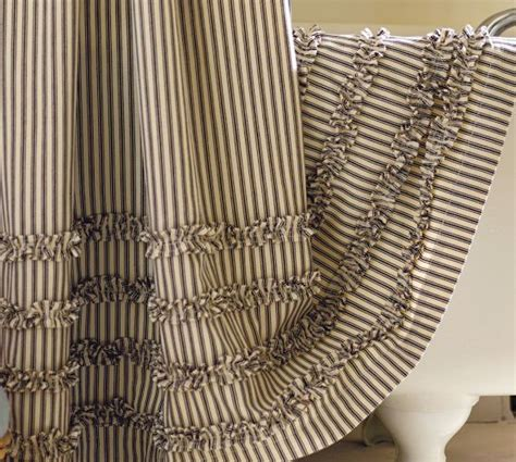 pottery barn striped curtains ticking stripe ruffle shower curtain
