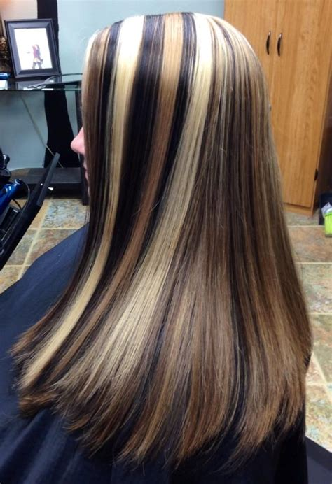 dramatic hair color highlights pictures high impact platinum caramel and soft black highlights