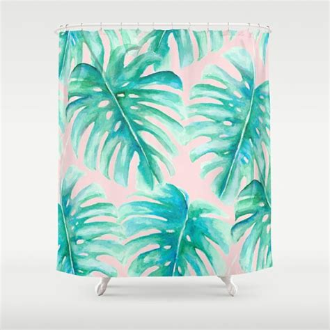 leaf print shower curtain pink and green palm leaf shower curtain monstera pattern