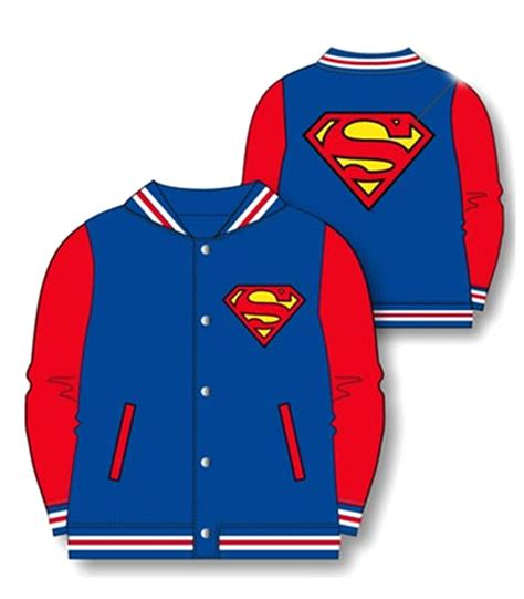Jaket Hm 9 C Superman official boys batman superman baseball jacket coat varsity ebay