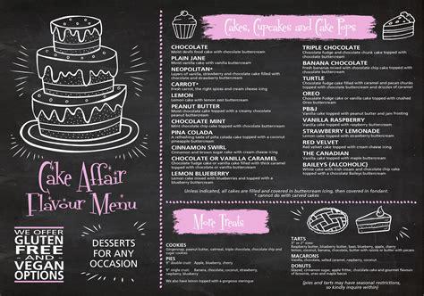 flavour menu cake affair cakes cupcakes dessert tables