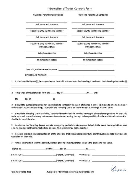 Medical Consent Form For Grandparents Template Business Consent Form For Grandparents Template
