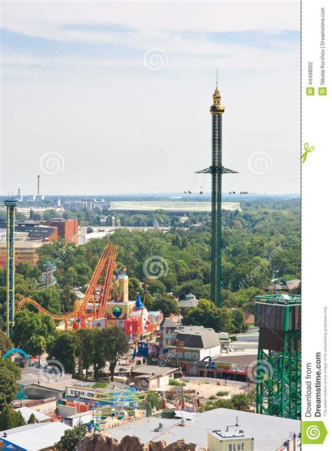 theme park vienna view of the prater amusement park vienna stock photo