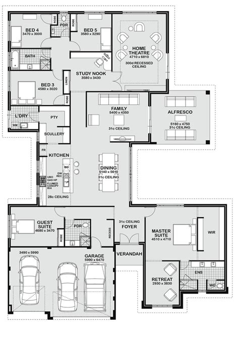 home design for 5 bedrooms floor plan friday 5 bedroom entertainer floor plans