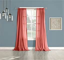 Coral Sheer Curtains No 918 Sheer Curtain Panel 50 By 84 Inch Coral Home Kitchen