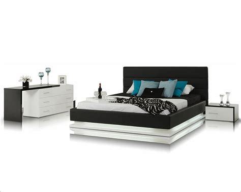 Platform Bed With Lights Contemporary Bedroom Set W Platform Bed With Lights 44b180set