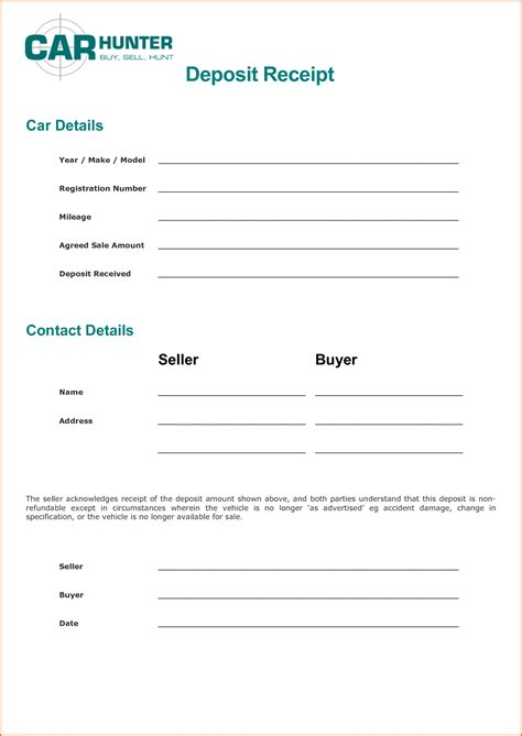 Purchase Deposit Receipt Template by Payment Receipt Template Portablegasgrillweber