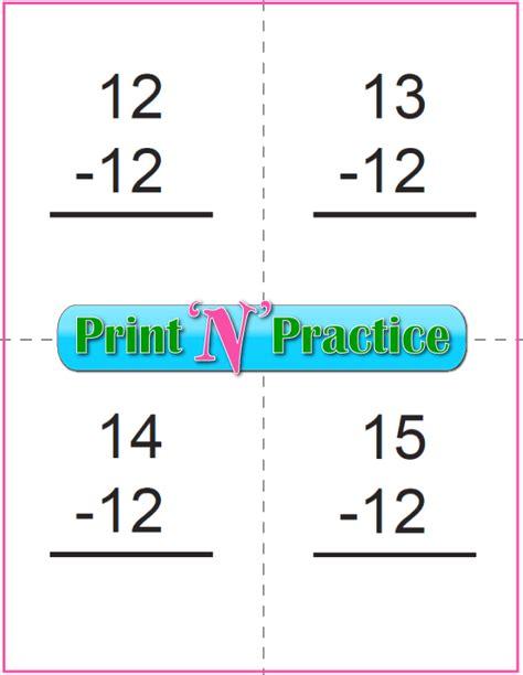 printable flashcards for subtraction 50 kindergarten subtraction worksheets practice for kids
