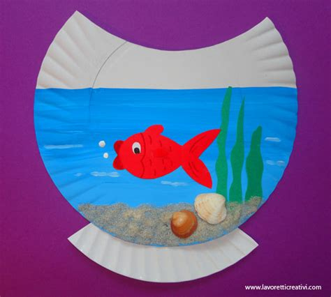Summer Paper Crafts - paper plate goldfish bowl craft summer