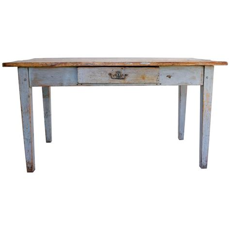 rustic painted farm table or writing desk with drawer at