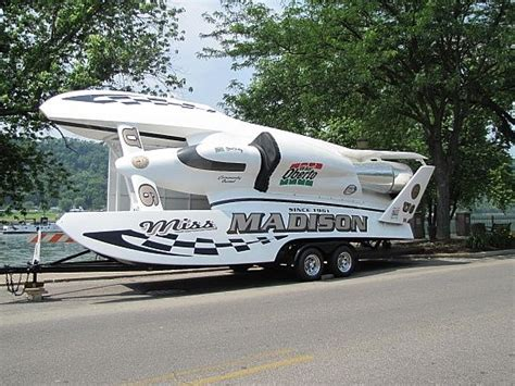 boat driving ohio miss madison hydroplane racing boat displayed on the ohio