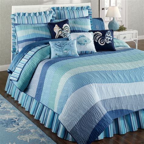ocean themed comforter coastal life bedding blue cottage seashell beach