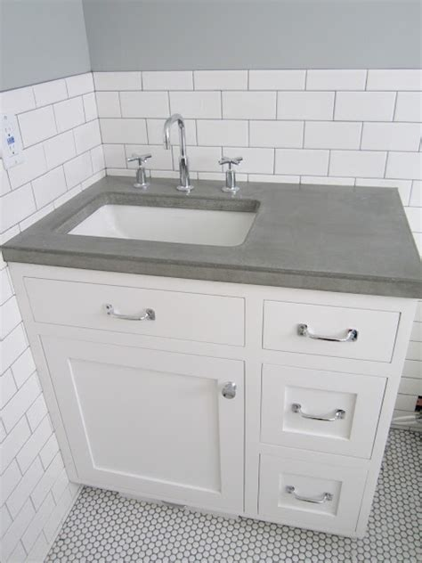 Offset Sink Vanity Top by White Vanity Grey Top Offset Sink Concrete Countertop
