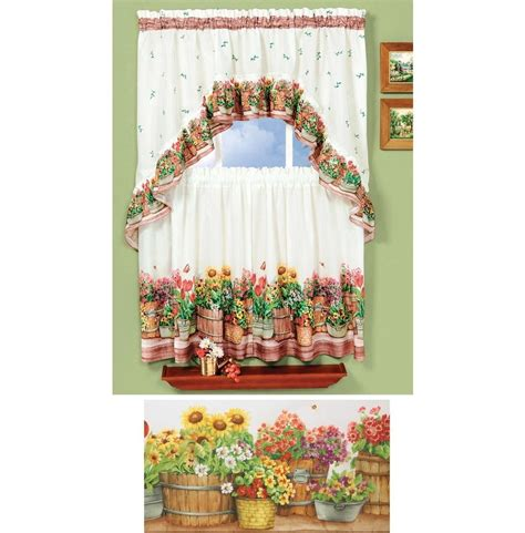 Sunflower Kitchen Curtains Country Sunflowers Garden 3 Kitchen Curtain Set Ebay