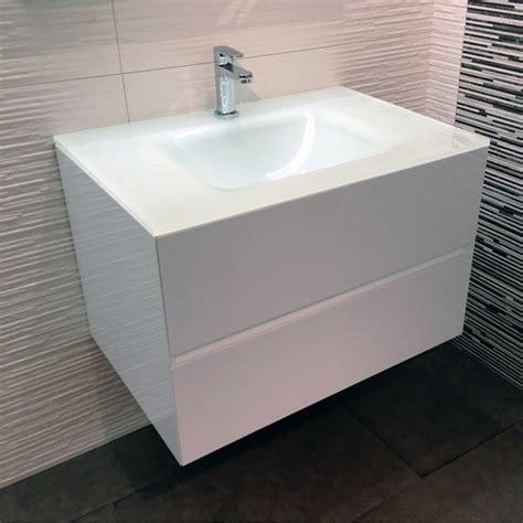 meuble salle de bain blanc 75 cm 2 tiroirs plan verre glass
