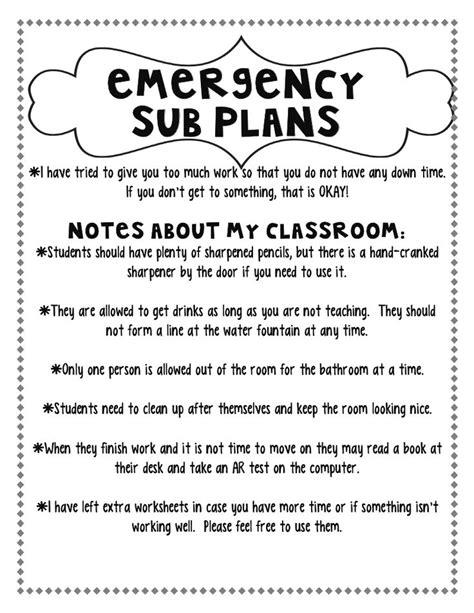 17 best ideas about emergency sub plans on pinterest sub