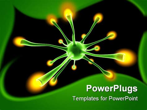Powerpoint Template Green Neuron Cell With Yellow Tips In A Dark Background 21828 Cell Powerpoint Template