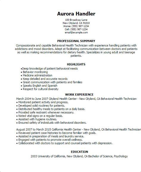 Mental Health Resume Objective Professional Behavioral Health Technician Templates To Showcase Your Talent Myperfectresume