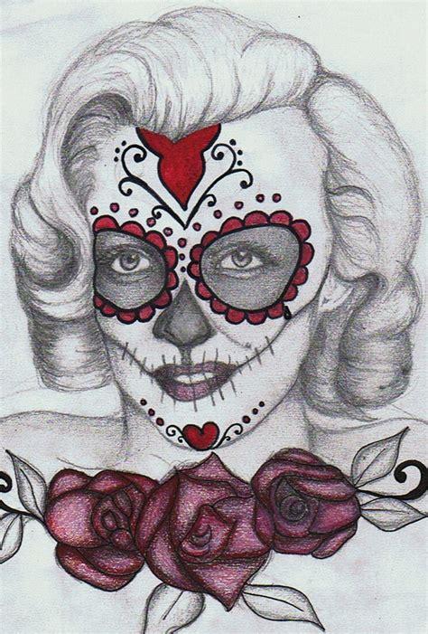 marilyn monroe skull tattoo marilyn sugar skull by prettyodd09 deviantart
