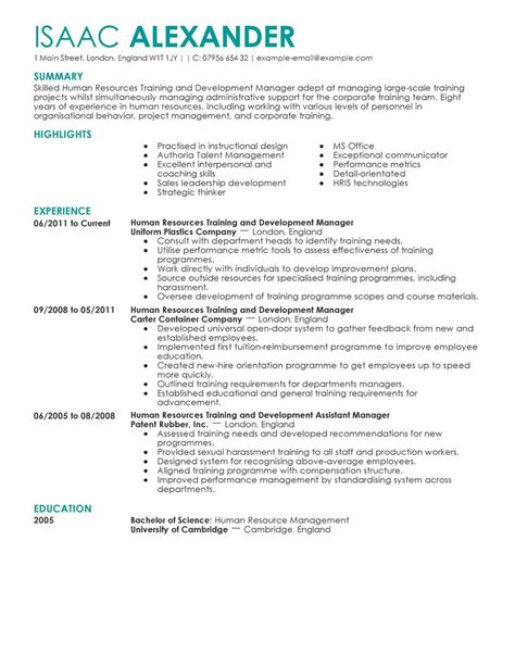 Resume Format Of Hr Trainer And Development Resume Exles Human Resources Resume Sles Livecareer