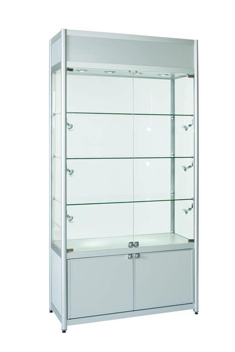 aluminium double door glass display cabinet storage top