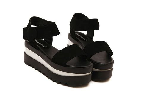 Promo Wedges No1 Terjangkau black fringe sandals hook loop platform wedges flat sandals platform wedges shoes chunky