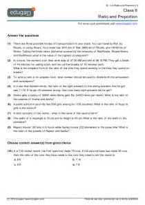 year 6 math worksheets and problems ratio and proportion