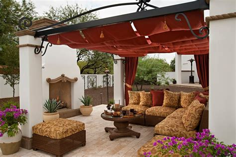 spanish awning ideas patio mediterranean with covered