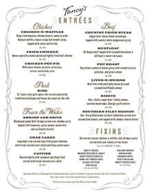 fancy s southern cafe dinner menu